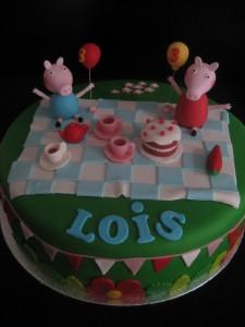 Peppa Pig voor Lois kindertaart Plomm