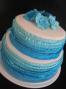 Blauw ruffle ombre